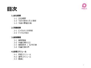 ピックル会社説明会 アジェンダ(目次)